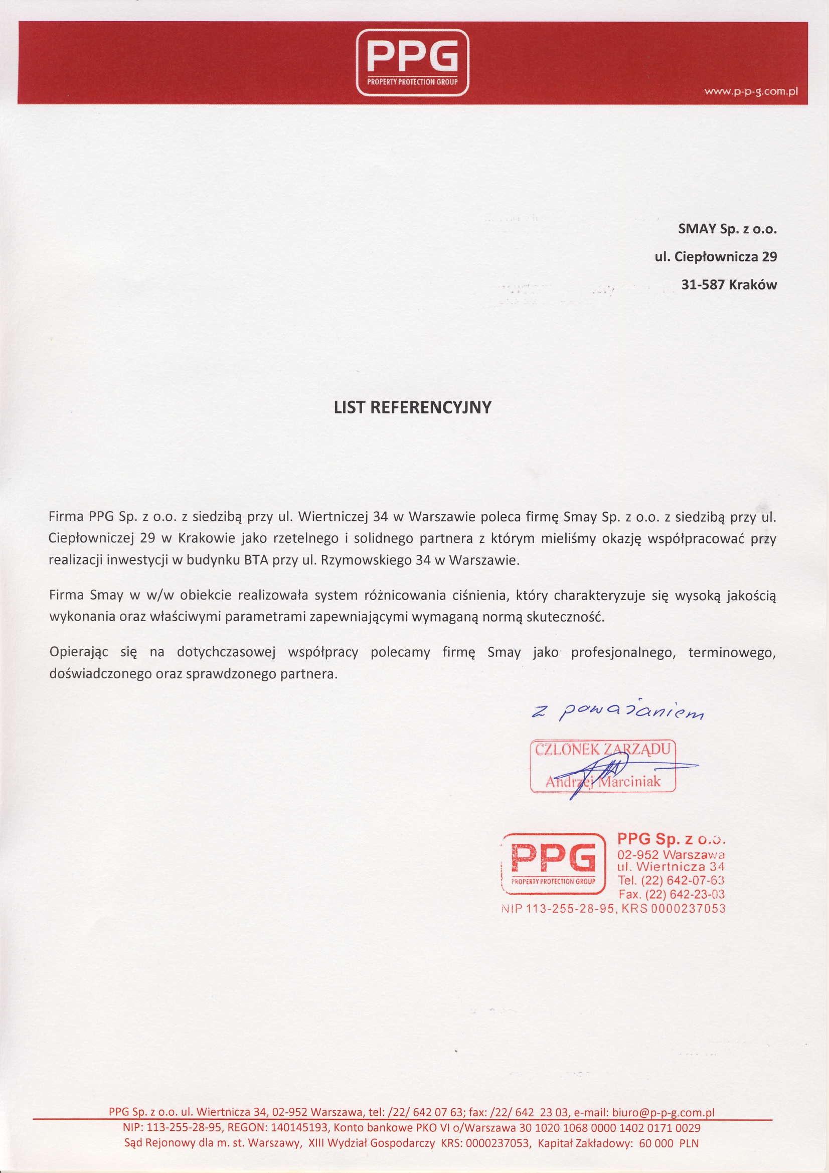 Referencja - PPG Sp. z o.o.