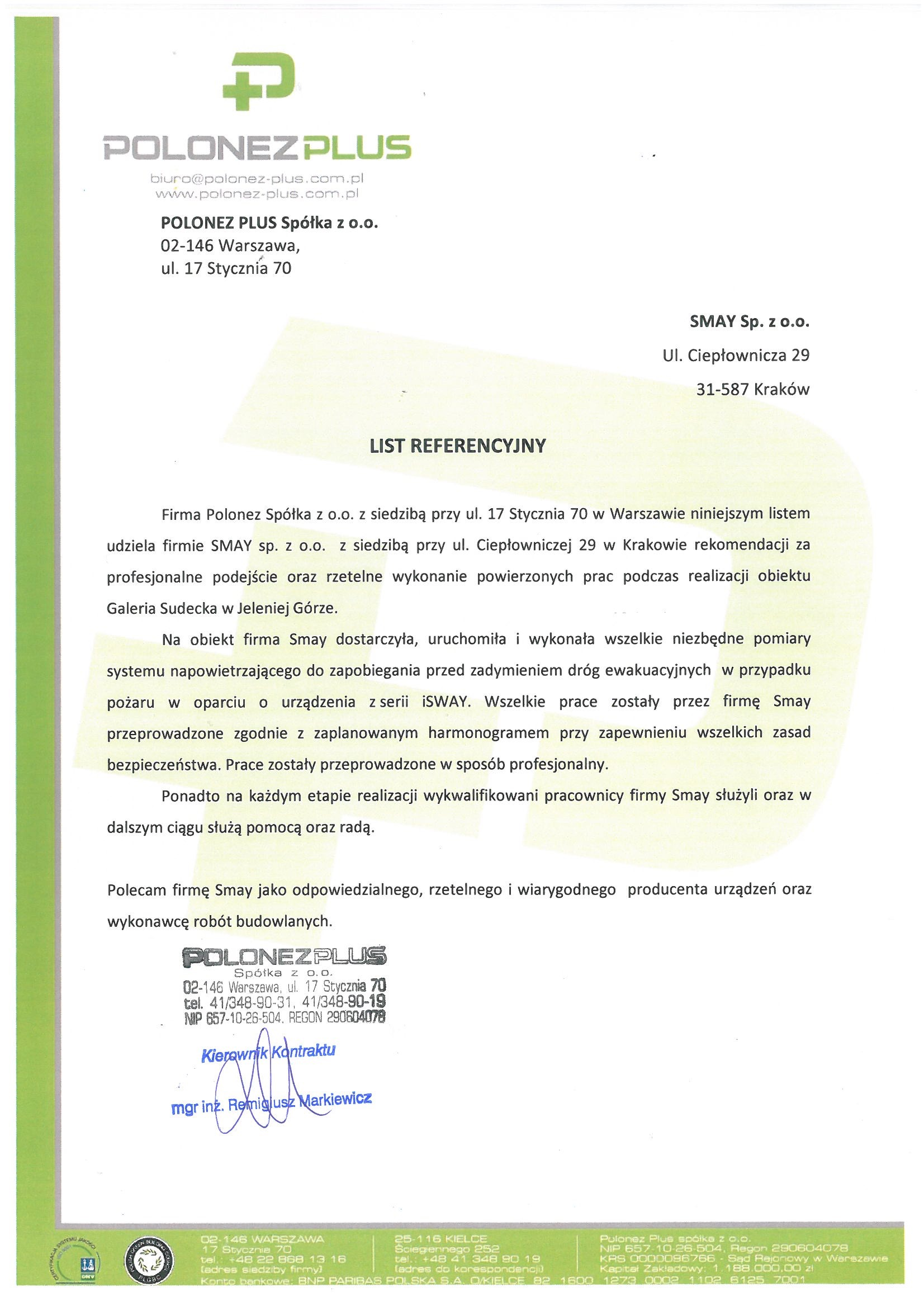 Referencja - POLONES PLUS Sp. z o.o.