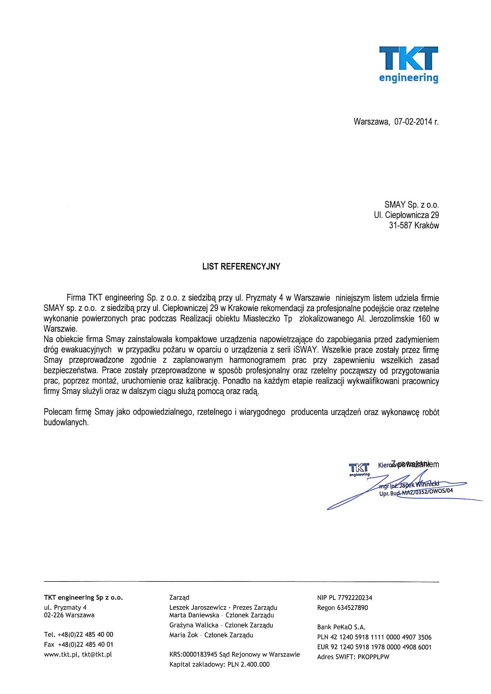 Referencja - TKT engineering Sp. zo.o.