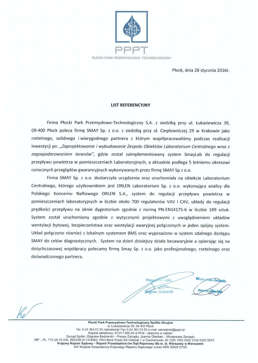 Reference - Płocki Park Przemysłowo-Technologiczny S.A.