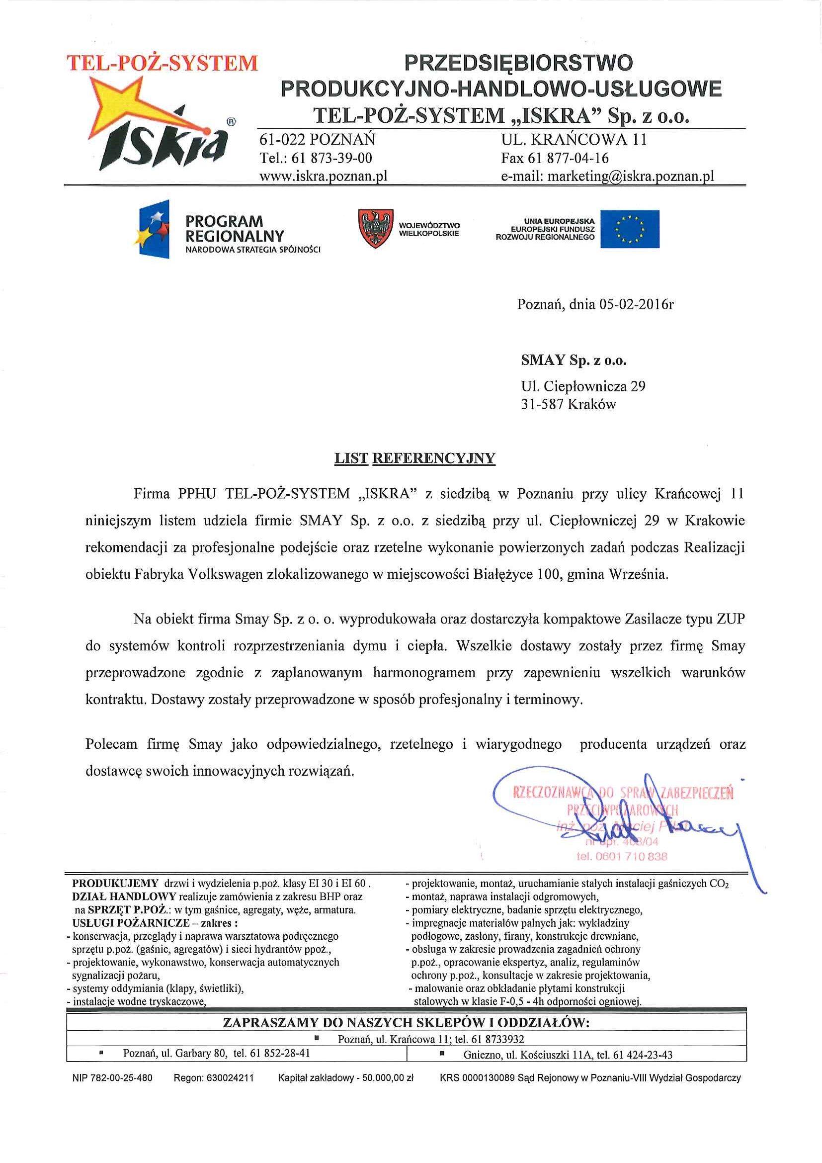Reference - PPHU TEL-POŻ-SYSTEM