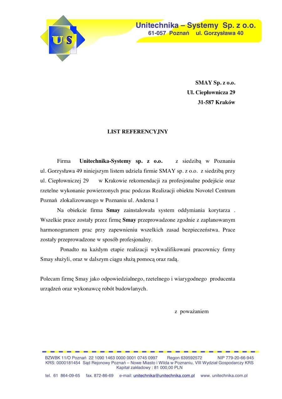 Reference - Unitechnika-Systemy Sp. z o.o.