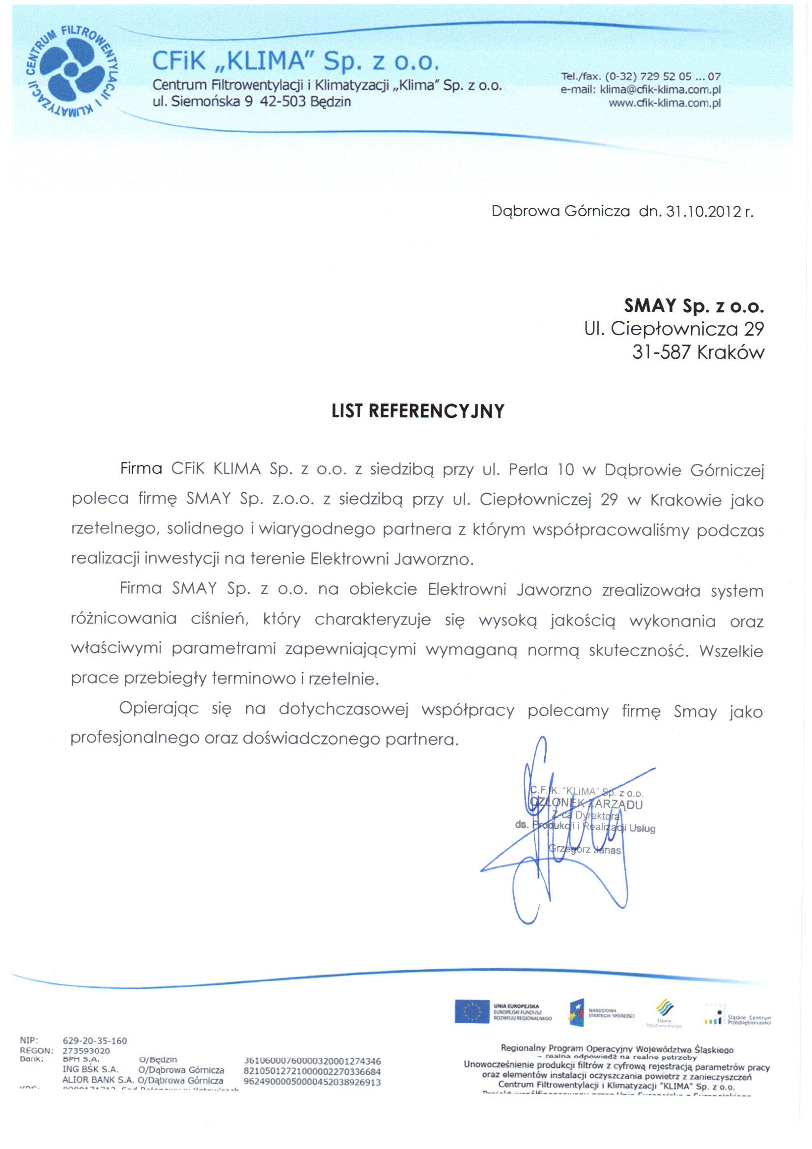 Reference - CFiK Klima Sp. z o.o.
