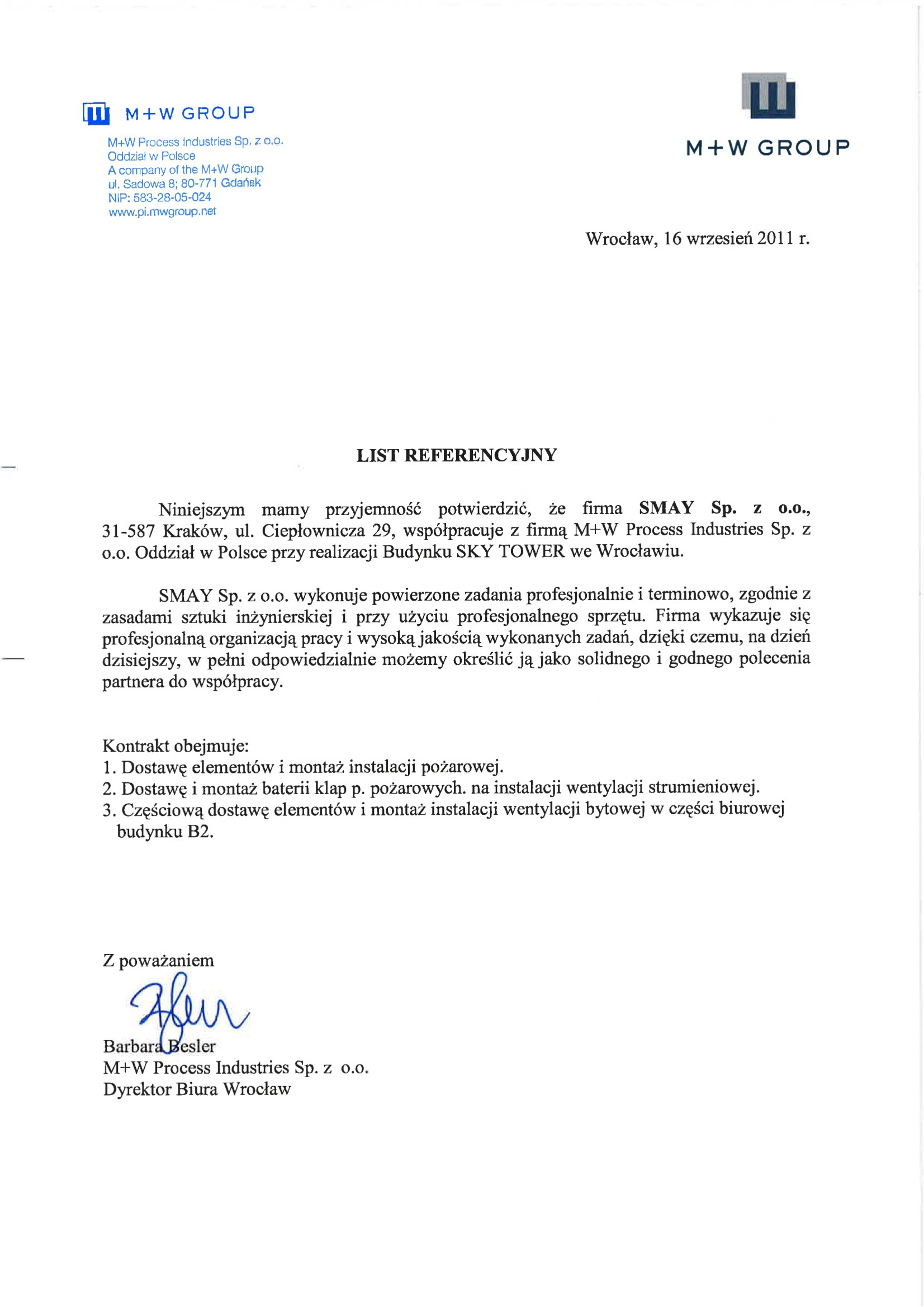 Referencja - M+W Process Industries Sp. z o.o.