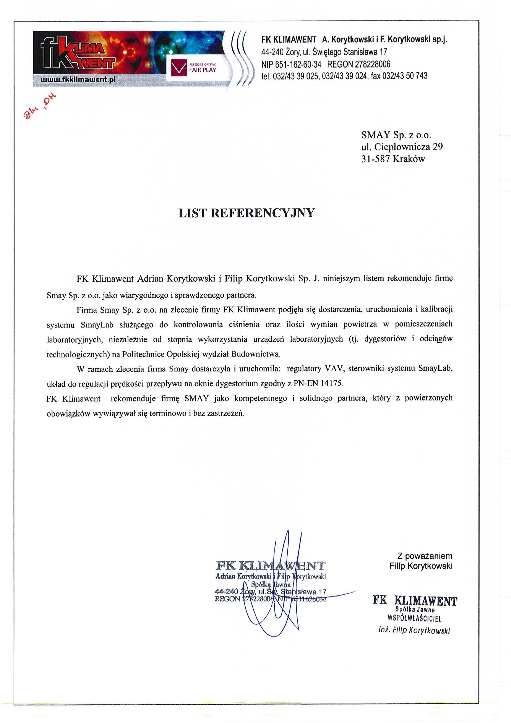 Referencja - FK Klimawent