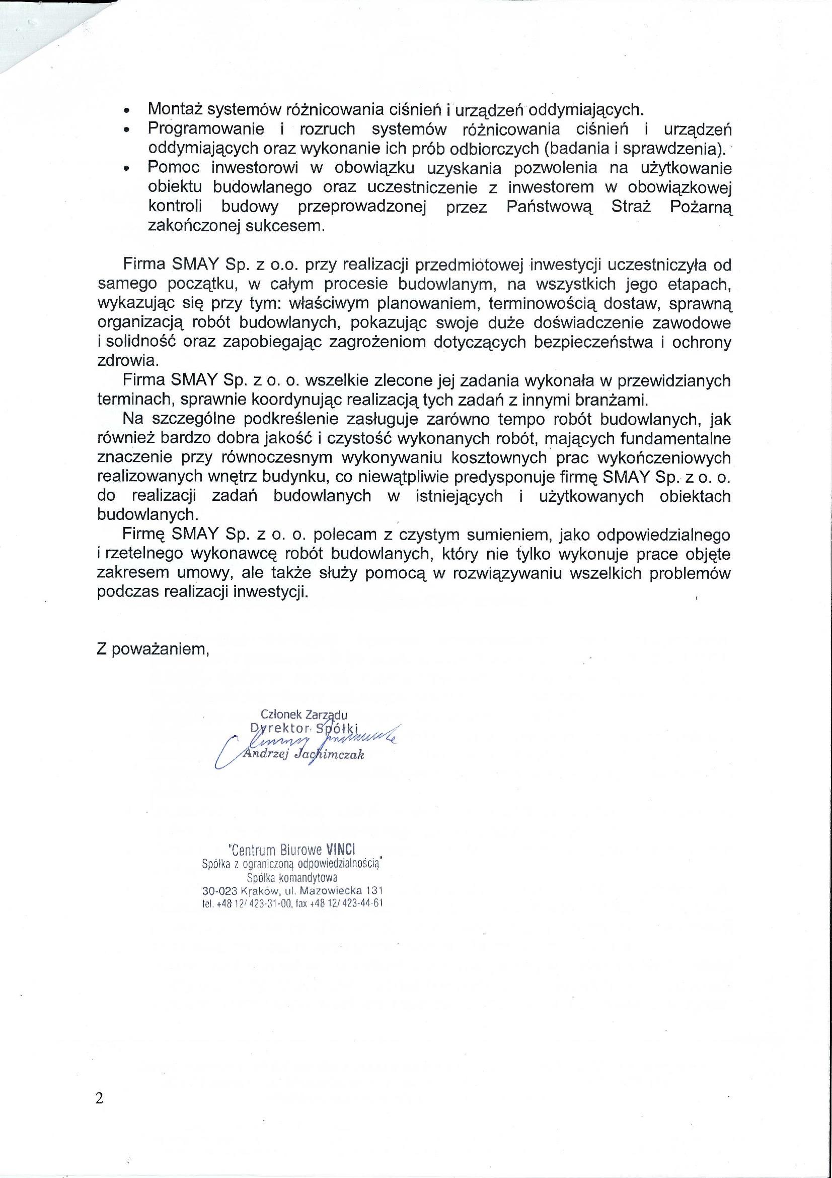 Reference - Centrum Biurowe Vinci Sp. z o.o.