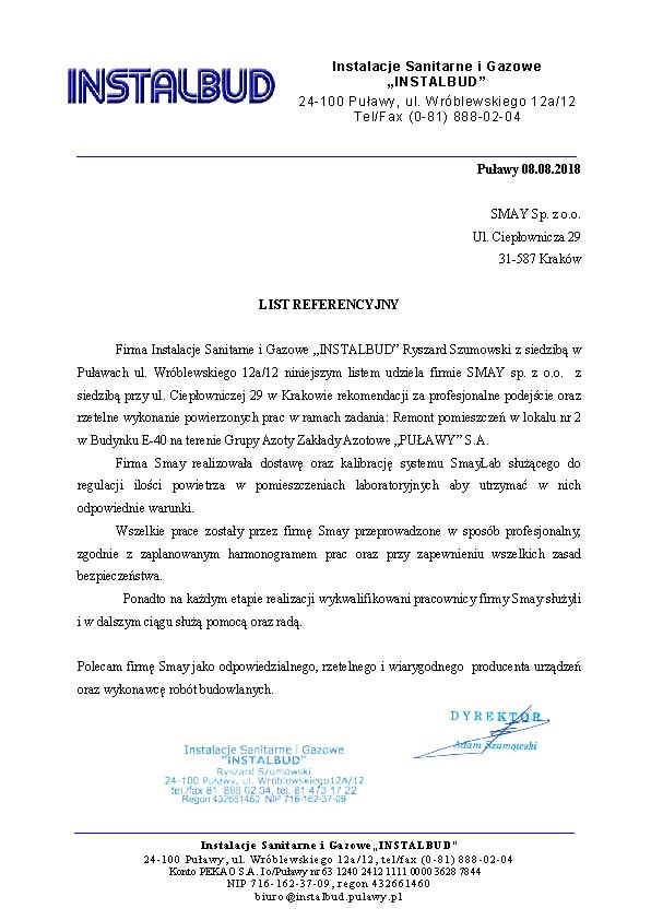 "Reference - Instalacje Sanitarne i Gazowe ""INSTALBUD"""